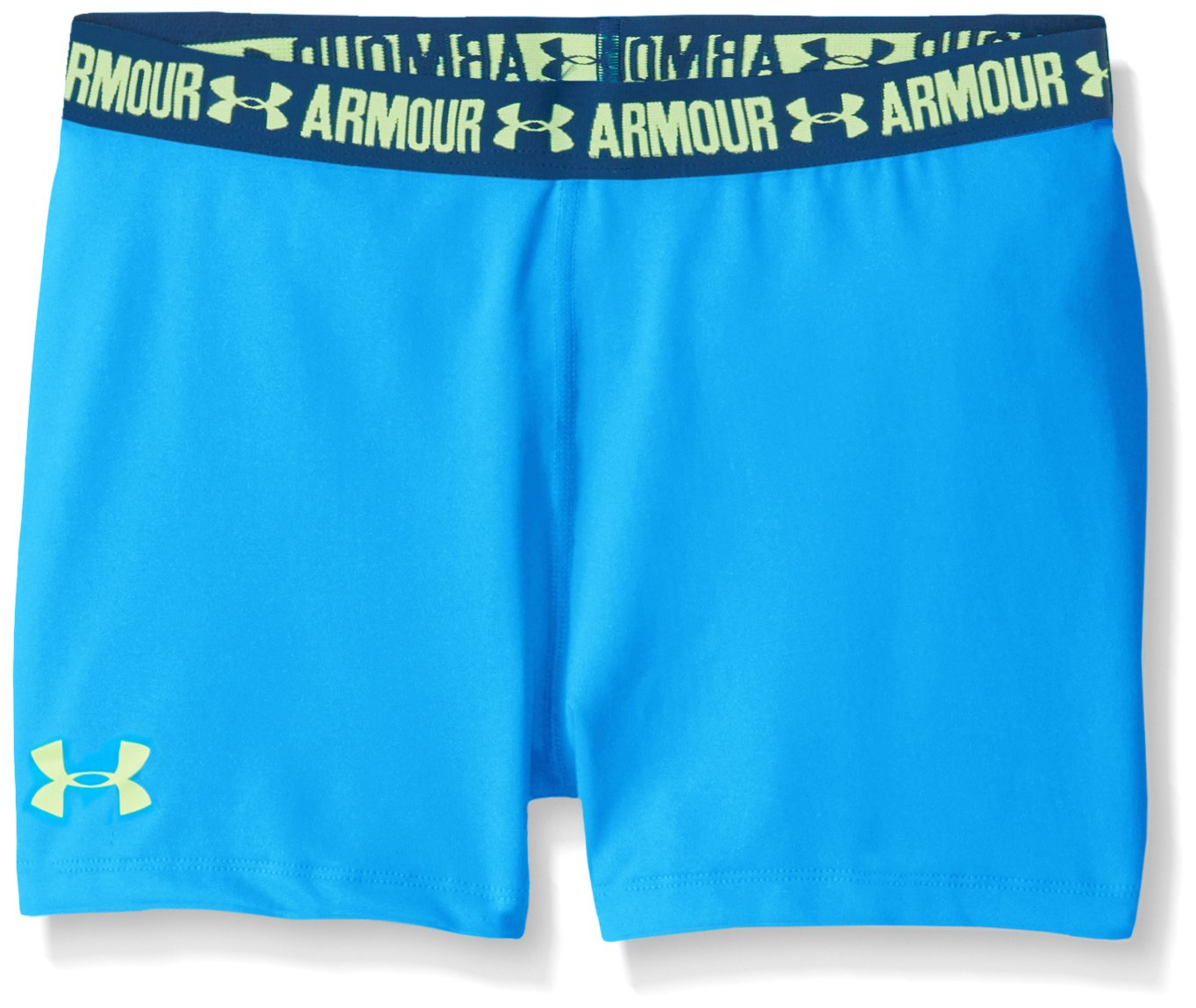 Under Armour Girls' HeatGear Armour 3'' Shorty,Blue Shift /Quirky Lime, Youth Large by Under Armour