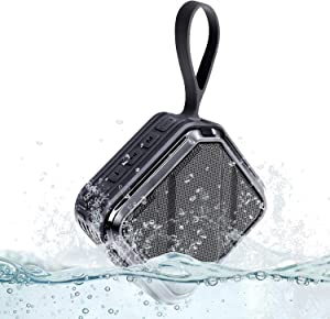 Waterproof Portable Bluetooth Speaker, Wireless Outdoor Speaker with Dual Pairing, Bluetooth 5.0, IPX7 Waterproof, Built-in Mic, Wireless Stereo Loud Mini Speaker for Shower Room Bike Travel