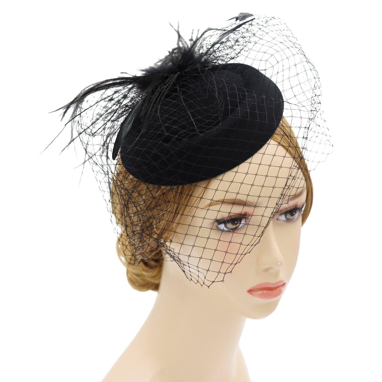 Wheebo Fascinator Hat Flower Feather Mesh Net Veil Party Wedding Headband for Women Girls (D-Black)
