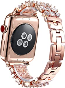 FanTEK Band for Apple Watch 42mm / 44mm, Luxury Crystal Bling Rhinestone Diamond Bracelet Strap, Adjustable Stainless Steel Replacement Band Compatible with iWatch Series 5/4/3/2/1 Rose Gold