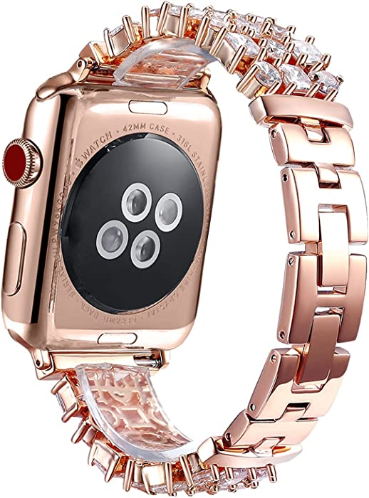 FanTEK Band for Apple Watch 38mm / 40mm, Luxury Crystal Bling Rhinestone Diamond Bracelet Strap, Adjustable Stainless Steel Replacement Compatible with iWatch Series 5/4/3/2/1 Rose Gold