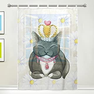 TSWEETHOME Window Treatments Sheer Curtains Draperies with Smily Cat for Living Room, Bedroom, Nursery Sliding Glass Door Rod Pocket Process (1 Panel,55x78 Inch)