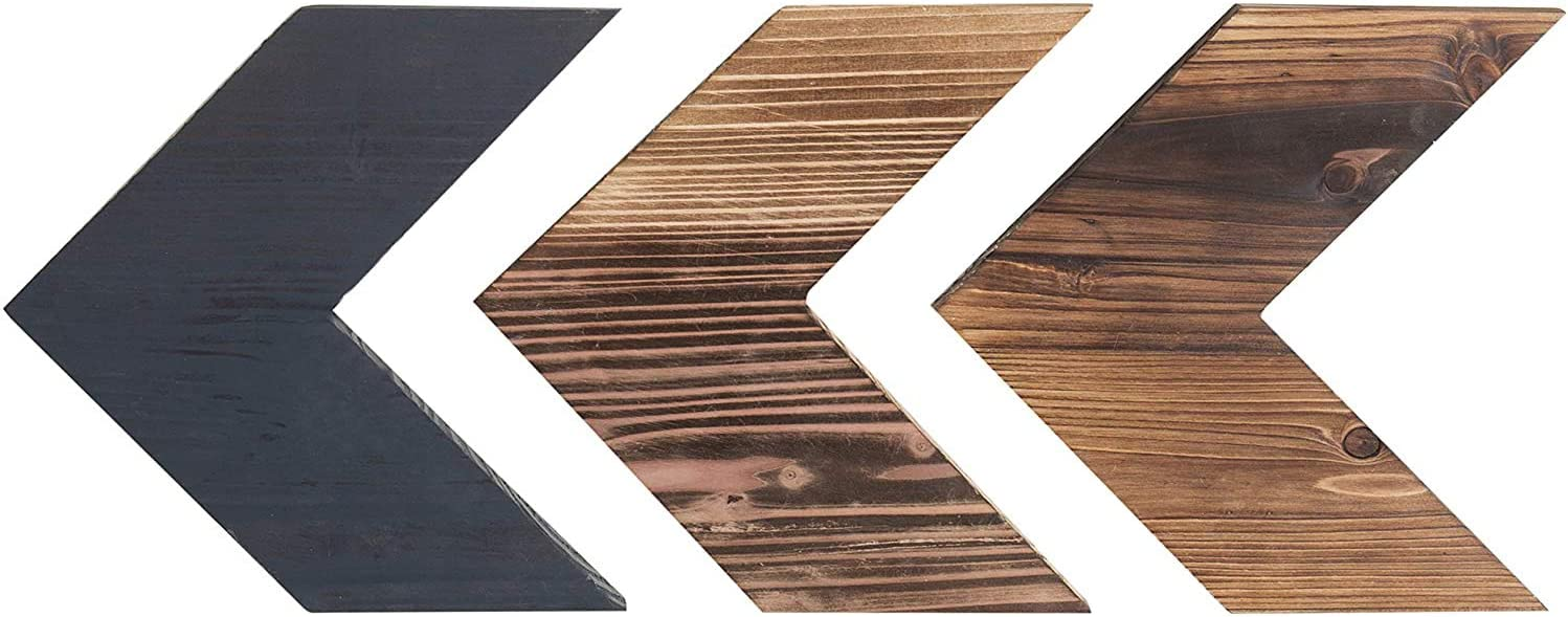 MyGift Rustic 3-Tone Brown Wood Chevron Wall-Mounted Decor, Set of 3