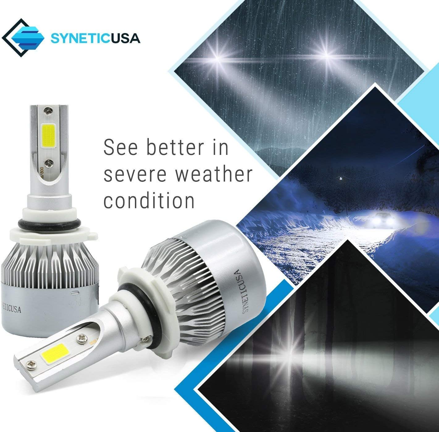 Quick Installation 9005+H11 Syneticusa Combo LED High//Low Beam Headlight Conversion Kit Light Bulbs 200W 20000LM 6000K White Halogen Replacement