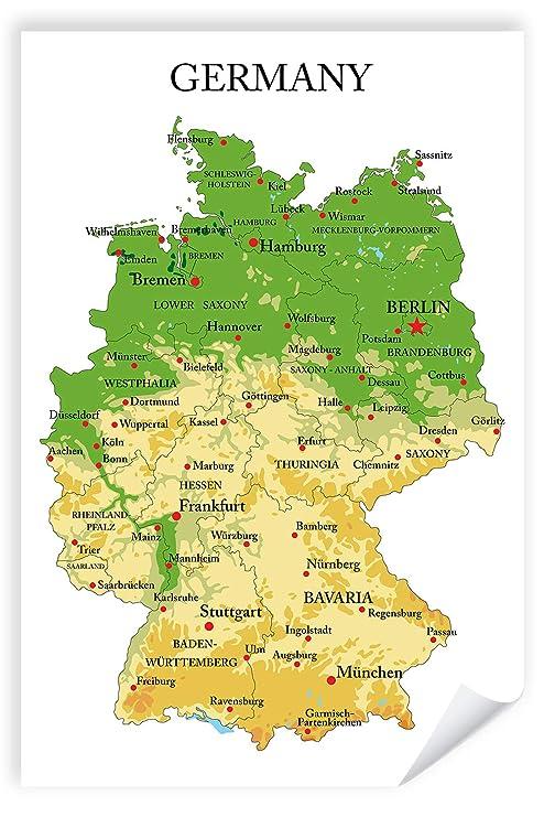 Postereck Premium Poster 1189 Deutschland Karte Hauptstadte