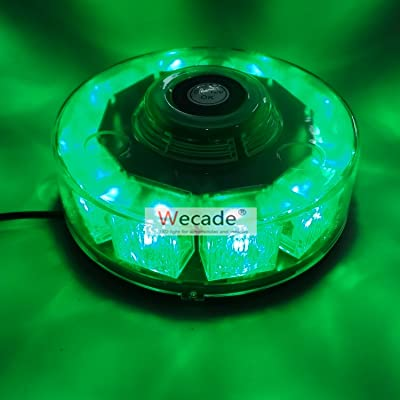 Wecade High Intensity 10 LED 30W Volunteer Firefighter Emergency Vehicle Magnetic Mount Strobe/Flash Beacon Warning Light (Green): Automotive
