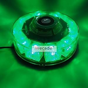 Wecade High Intensity 10 LED 30W Volunteer Firefighter Emergency Vehicle Magnetic Mount Strobe/Flash Beacon Warning Light (Green)