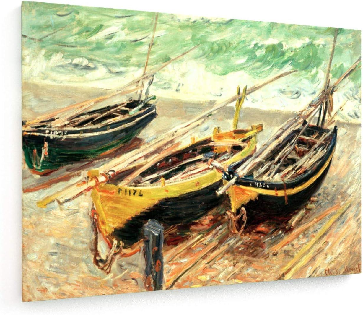 weewado Claude Monet - Tres Barcos de Pesca - 1885-100x75 cm - Impresion en Lienzo - Muro de Arte - Canvas, Cuadro, Poster - Old Masters/Museum