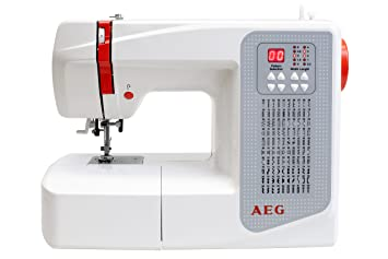 AEG Máquina de coser, plástico/metal, plástico/metal, weiß/rot/grau, 37.5 x 15 x 30.5 cm: Amazon.es: Hogar