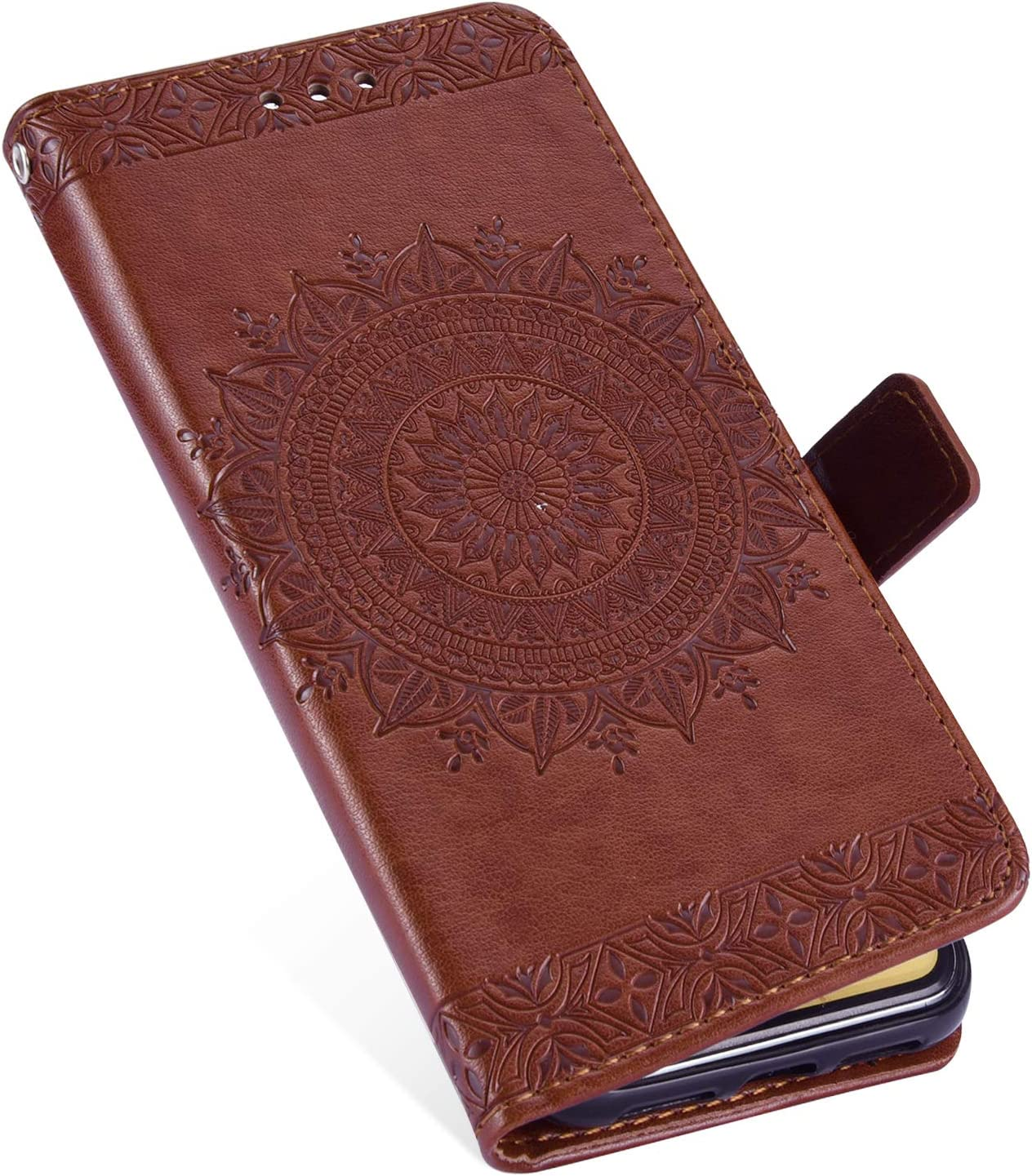 Herbests Compatible with Huawei P20 Pro Wallet Case Embossed Totem Mandala Flower Slim Folio Leather Cover Wallet Bookstyle Magnetic Flip Stand Cover Case Slot Wrist Strap,Red
