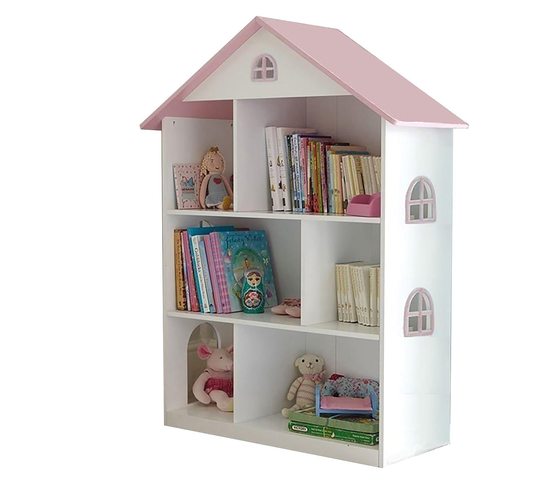Liberty House Toys–Libreria casa delle Bambole Bianco con Tetto Rosa, Legno, Bianco/Rosa, 83x 30x 106.5cm 83x 30x 106.5cm LHT10101