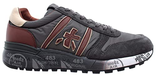 Tela Hombre Zapatos Premiata 3243 Cuero Técnica Gris Lander Sneakers XTxOS