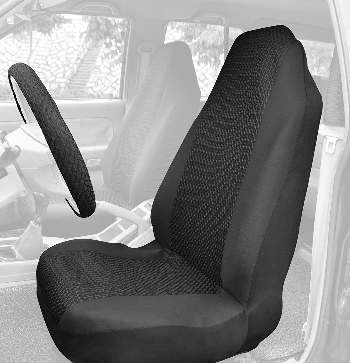 Bucket Seat Covers Front Seat Protector Sandwich Black with Seat Belt Cover Steering Wheel Cover Universal Fit for Auto Truck Van SUV