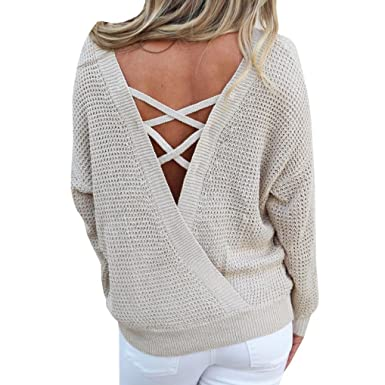 Manadlian Pull Femme Hiver Tricot Sexy Col V Croisé Dos Nu Casual Top  Sweater Top Pullover Chandails  Amazon.fr  Vêtements et accessoires aee58dd27bff