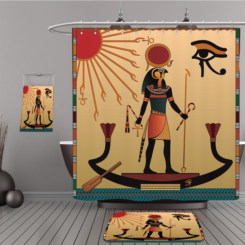 Uhoo Bathroom Suits & Shower Curtains Floor Mats And Bath Towels 122013538 Religion of Ancient Egypt. The gods of ancient Egypt Aten and Ra. Ra in the solar bark For Bathroom