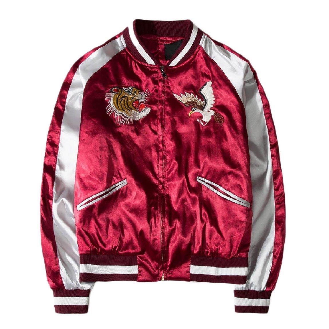 Vska Men Vintage with Zips Embroidery Stylish Satin Punk Rock Coats