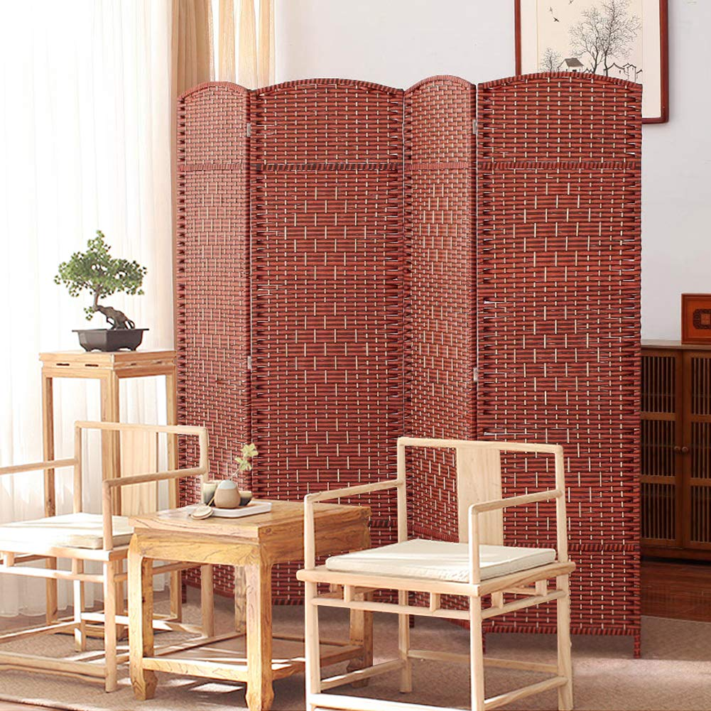 Ejoyous Room Divider, 4 Panel Partition Folding Privacy Screen Free Standing Woven Rattan Tall Panel Divider for Home Office by Ejoyous
