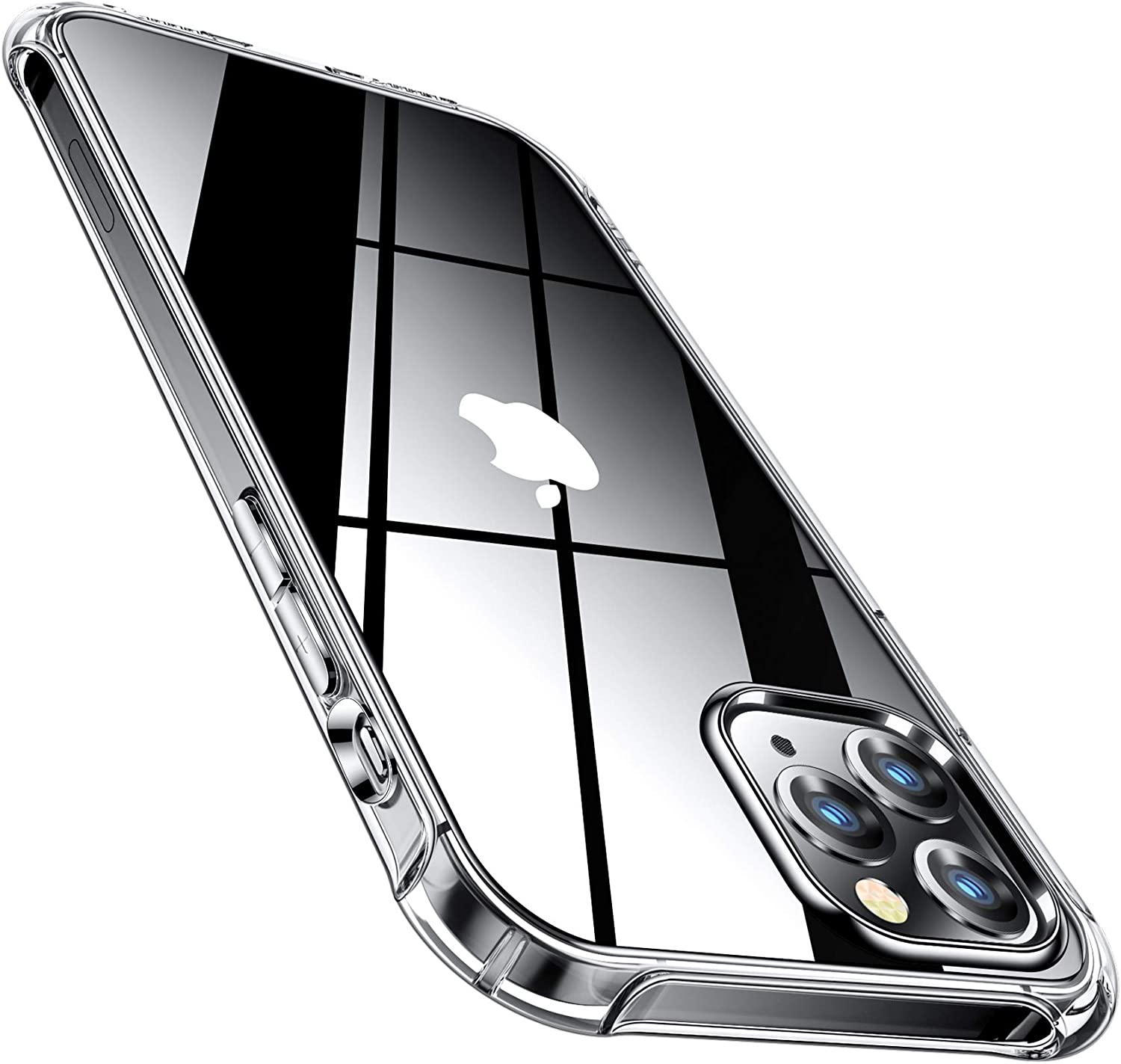CANSHN Compatible with iPhone 12 Pro Max 6.7'' 2020, Clear Protective [Military Grade Drop Test] [Slim Thin] Case with 4 Reinforced Soft TPU Bumpers - Clear