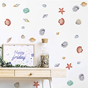 Watercolor Kids Wall Decals Underwater World Wall Stickers Art Murals, Sea Shell Starfish Conch Wall Posters DIY Peel and Stick Boys Room Decor Nursery Decoration