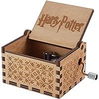 Tema de Hedwig Harry Potter Caja de Música de Madera, Manivela 18 Nota Grabado Láser Antiguo Cajas Musicales de Madera Artesanías para Cumpleaños/Regalo de Navidad