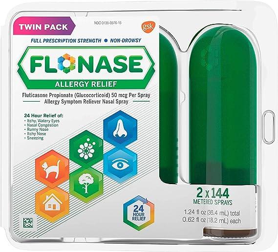 Amazon.com: Flonase Allergy Relief Nasal Spray, 24 Hour Non Drowsy Allergy Medicine, Metered Nasal Spray - 144 Sprays (Pack of 2): Health & Personal Care
