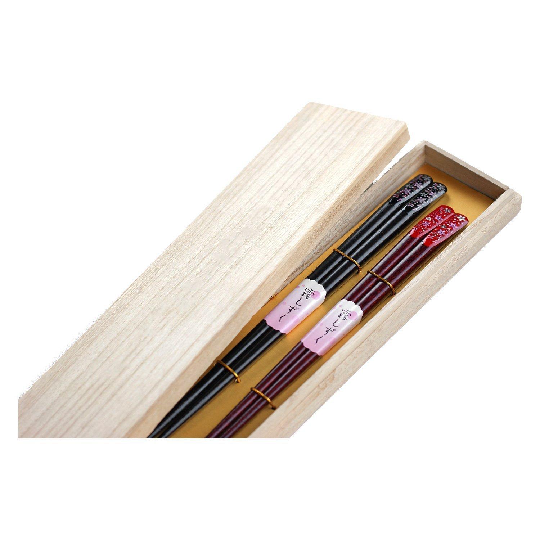 桜柄の夫婦箸