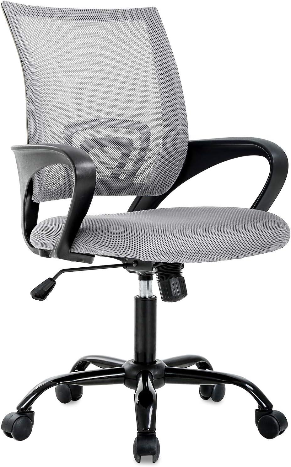 BestOffice Ergonomic Office Desk Mesh Computer Back Support Modern Executive Adjustable Task Rolling Swivel Chair for Women, Men, Grey