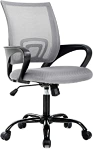 BestOffice Ergonomic Office Desk Mesh Computer Back Support Modern Executive Adjustable Task Rolling Swivel Chair for Women, Men, Grey