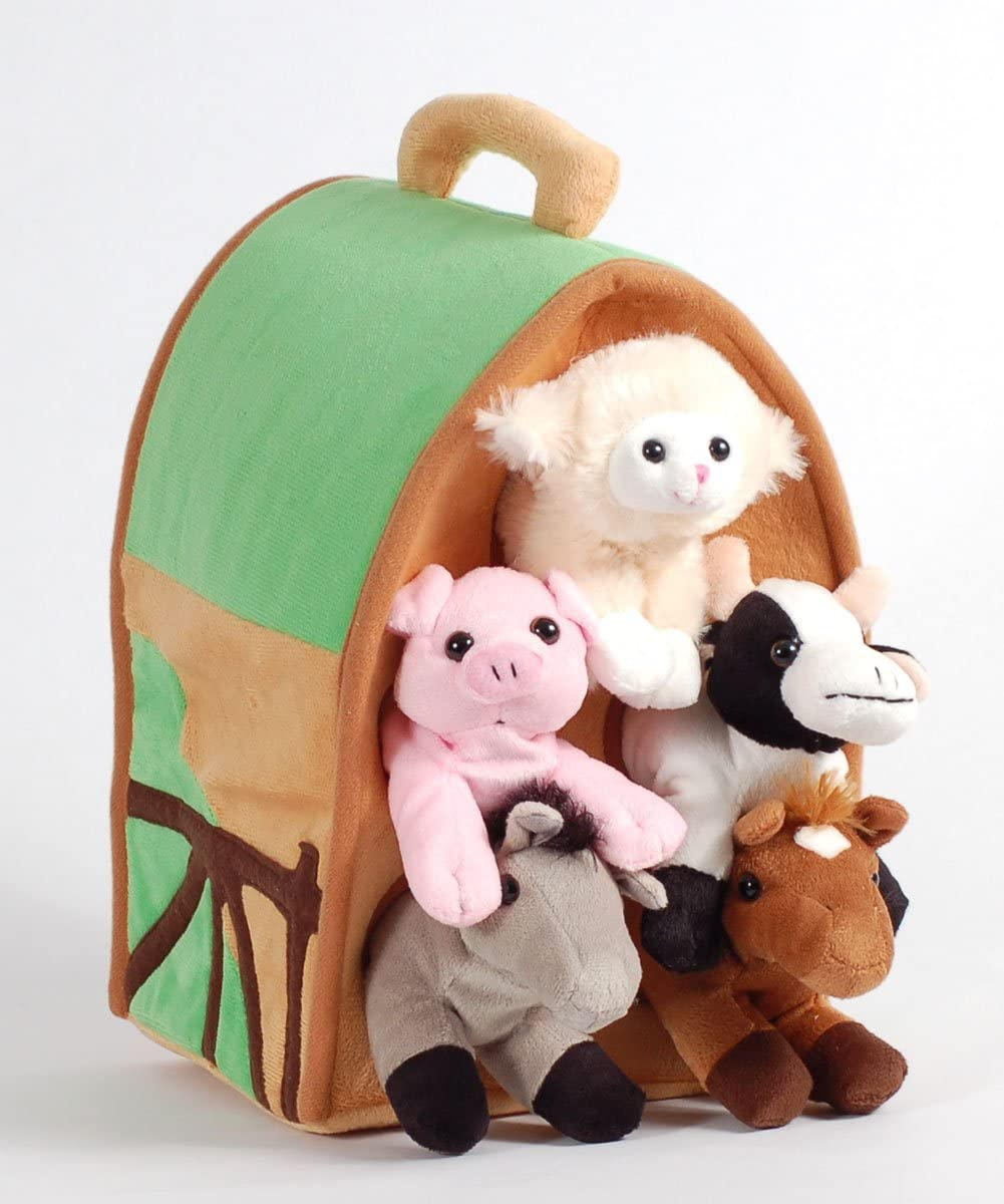 Amazon Com Plush Farm House With Animals Five 5 Stuffed Farm Animals Horse Lamb Cow Pig Grey Horse In Play Farm House Toys Games