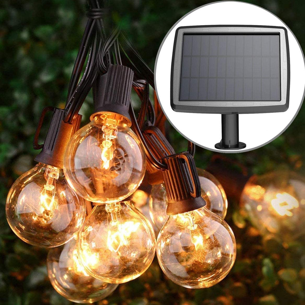 PERFECTDAY Solar String Lights, Shatterproof LED Solar String Light Outdoor G40 Umbrella Lights with 25 Bulbs - 27 Ft Patio Waterproof Lights