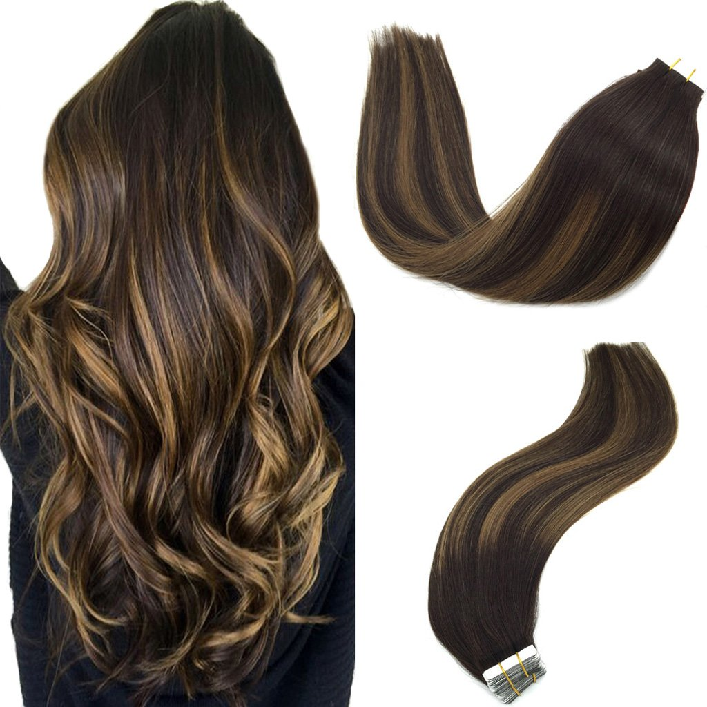 Googoo Balayage Human Hair Extensions Tape in Ombre Dark Brown to Light Brown Natural Tape in Hair Extensions Remy Straight 50g 20pcs 16 inch by GOO GOO