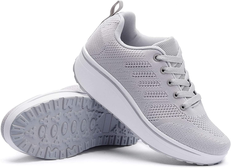 Wuiwuiyu Femmes Baskets Compensées Chaussures De Sport À Lacets Sneakers Gris