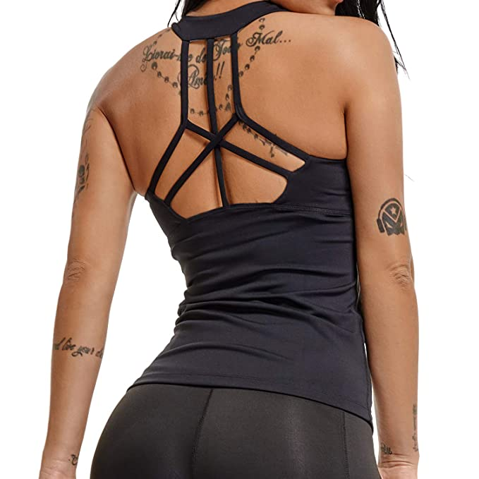 db42b803620be YOFIT Sexy Yoga Tank Tops Backless Vest with Removable Pad Workout  Sleeveless Shirts Open Back Black