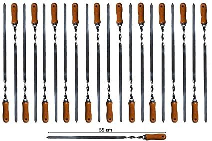 21 x Grillspieße Edelstahl mit Holzgriff 55 cm Schaschlikspieße Fleischspieße