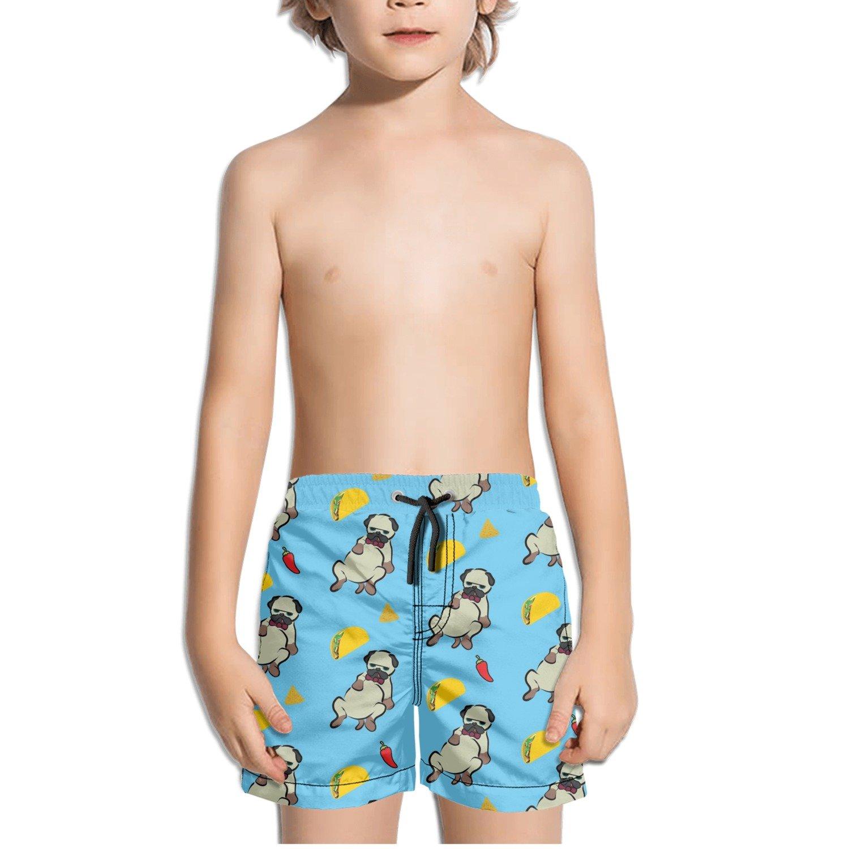 TylerLiu Pug Lazy Tacos Pattern Kids Boy's Fast Drying Beach Swim Trunks Pants