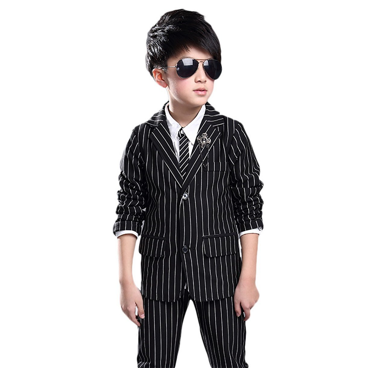 Happy Cherry Little Boys' Classic Suit For Wedding Holiday 2 Pieces Sets Black 10