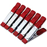 """ESUMIC 6 x 4"""" A Metal Spring Clamps Rubber Coated Tipped Grip Holder For Camping Tarpaulin (Red)"""