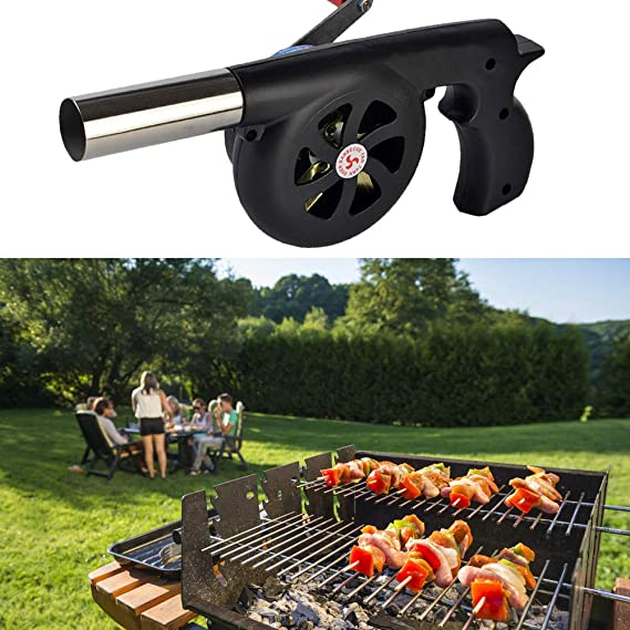 Barbecue Fire Bellows Hand Crank Tool for Barbecue Camping Picnic LAOLI Outdoor BBQ Fan Air Blower Black Portable Manual Hand Crank Fire Bellows