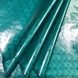 Milylace Bazin Riche Fabric 5 Yards Pure Color African Cotton Getzner Fabric with Beautiful Pattern Sewing Material for Clothing (Dark Green)