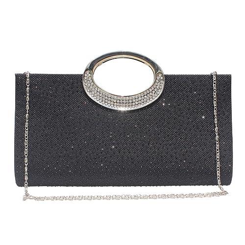 13e63ec0a83592 Labair Womens Glitter Rhinestone Frosted Clutch Bag Evening Handbag Wedding  Party Prom Purse Black