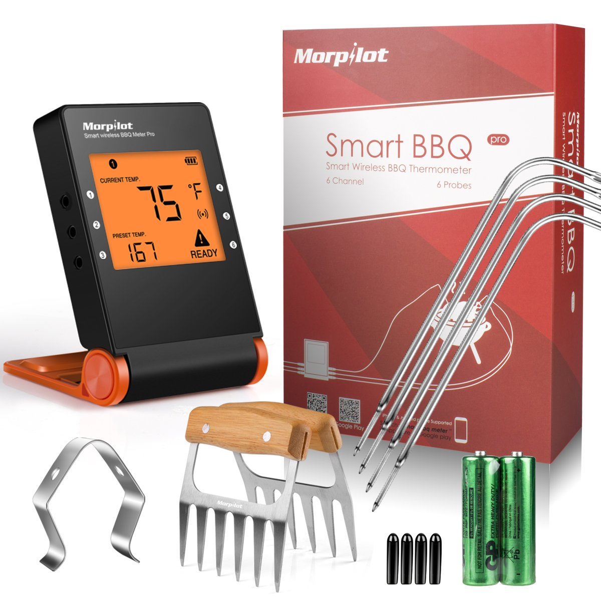 Morpilot Bluetooth Meat Thermometers, Wireless BBQ Thermometer for Smoker, Grill Bluetooth Thermometer Smart Remote Digital Cooking Food with 4 Probes for Grilling Oven Griddle Kitchen