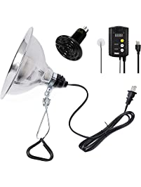 """Simple Deluxe 150W Reptile Heat Bulb & 150W Clamp Light with 8.5"""" Reflector & Digital Thermostat Controller Combo Set"""