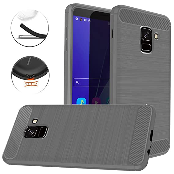 info for 88e13 778e3 Dretal Galaxy J6 2018 Case, Carbon Fiber Shock Resistant Brushed Texture  Soft TPU Phone case Anti-Fingerprint Flexible Full-Body Protective Cover  for ...
