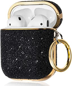 KINGXBAR Luxury Series Unique AirPods Case Cover Protective Skin with Sparkle Crystals for Apple AirPods 2 & 1, Super Bling Stylish Cool Design Hard AirPods Cover with Keychain for Girls and Women