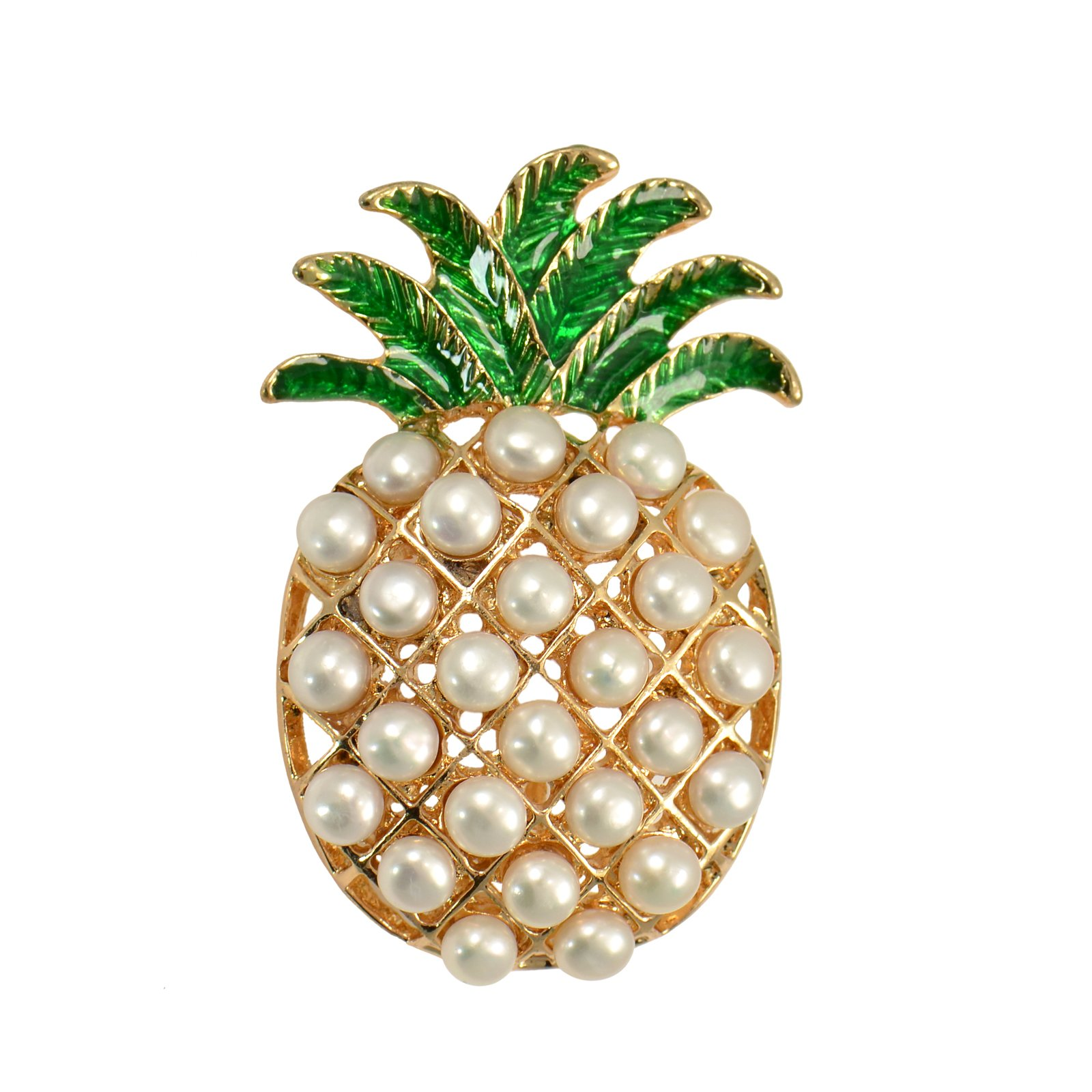 Paialco 4-5MM Cultured Freshwater Pearls Fruit Pineapple Brooch Pin 1.2'' x 1.8''