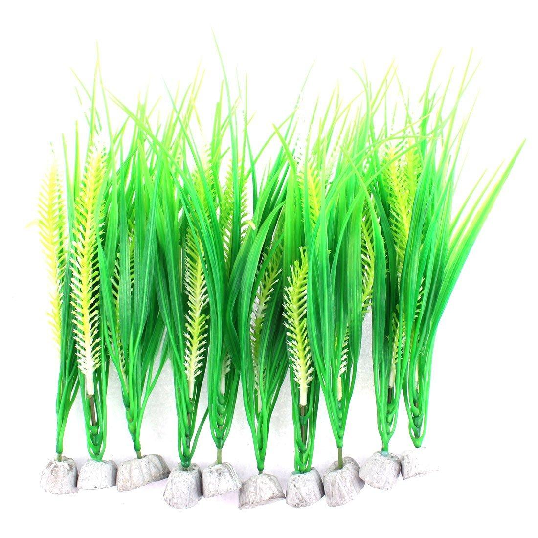 Plastic Aquarium Water Plant Grass Embellishment 23.5cm High 10pcs