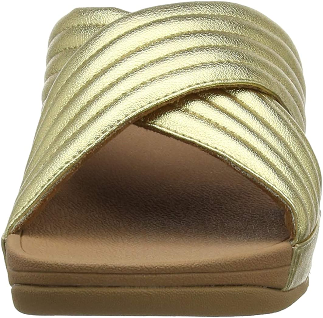 Fitflop Padded Lulu Slide-PU, Sandales Bout Ouvert Femme Or Artisan Gold 667
