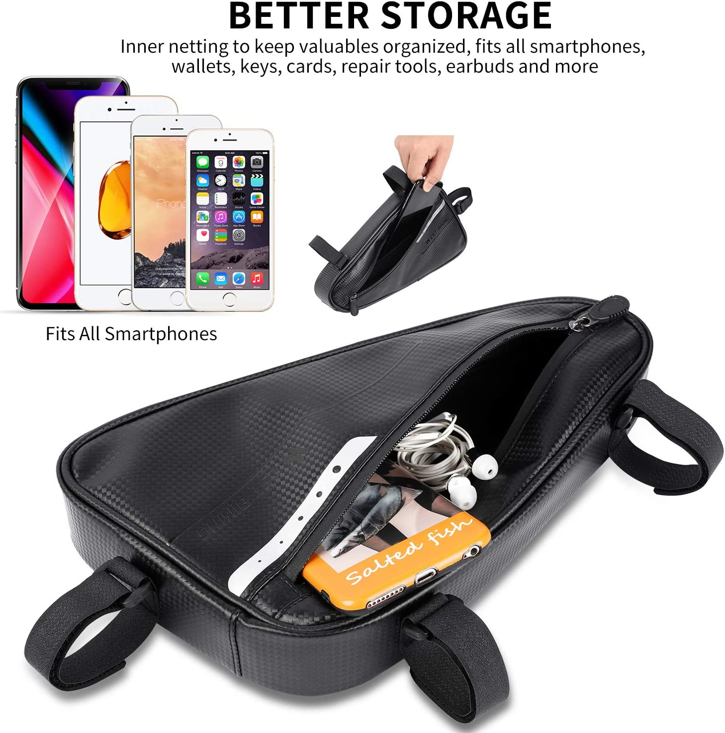 Bicycle Front Tube Triangle Pouch Water Resistant Cycling Pack Strap On Saddle Bike Pack Accessories Tool Accessible Storage Bag for Road Mountain Cycling Biking Bike Frame Bag