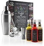 Coffret cadeau Cocktail - Inclue un shaker de 750ml, un agitateur, une passoire + 3 sirops aromatisés - Inclue une Application contenant une base de données de plus de 16000 recettes de cocktails.