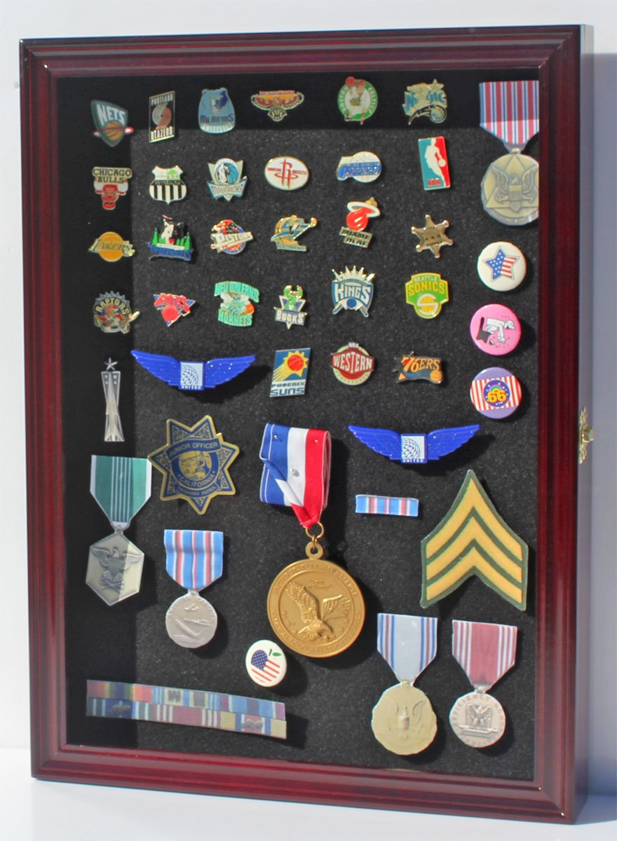 Collector Pin And Medal Display Case Holder Cabinet Shadow